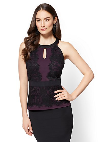 7th Avenue - Lace-Accent Halter Top - New York & Company