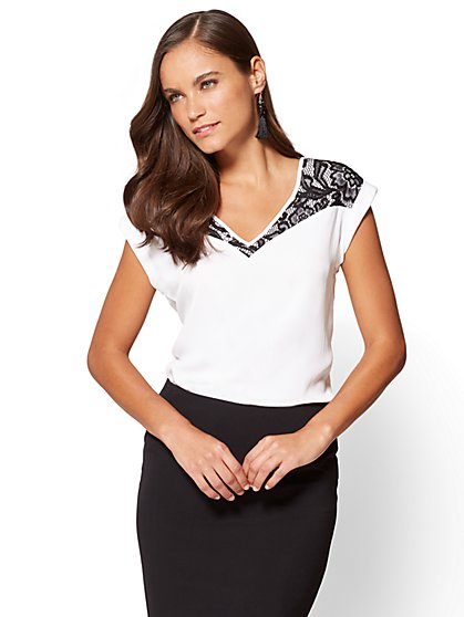 7th Avenue - Lace-Accent Hi-Lo Top - Petite - New York & Company