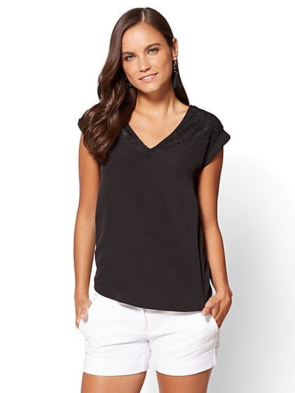 7th Avenue - Lace-Accent Hi-Lo Top - New York & Company