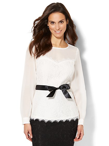 7th Avenue - Lace-Accent Peplum Blouse - New York & Company