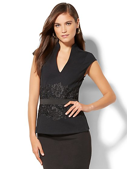 7th Avenue - Lace-Accent Peplum Top - New York & Company