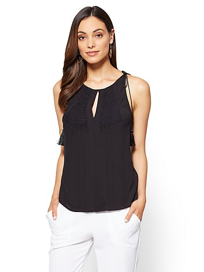 7th Avenue - Lace-Accent Sleeveless Blouse - New York & Company