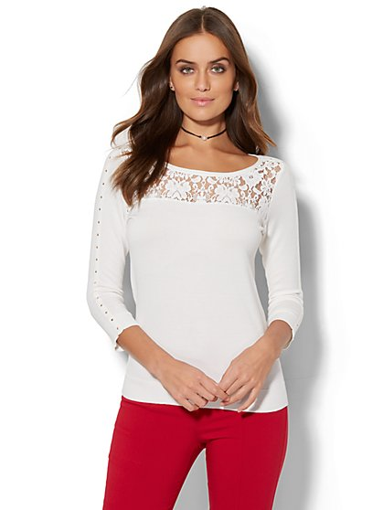 7th Avenue - Lace-Accent Studded Sweater - New York & Company