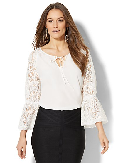 7th Avenue - Lace-Accent Tie-Neck Blouse - Tall - New York & Company