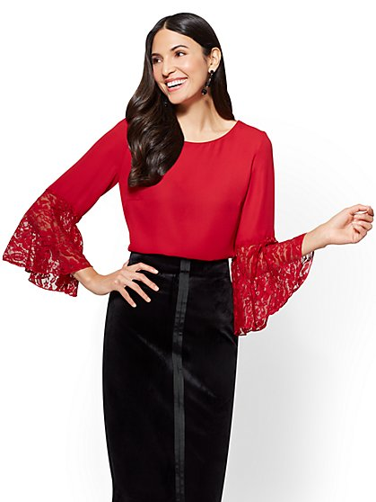 7th Avenue - Lace Bell-Sleeve Blouse - New York & Company
