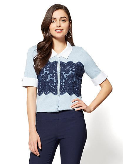 7th Avenue - Lace Cardigan Twofer Top - Blue - New York & Company