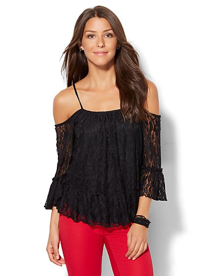 7th Avenue - Lace Cold-Shoulder Blouse  - New York & Company