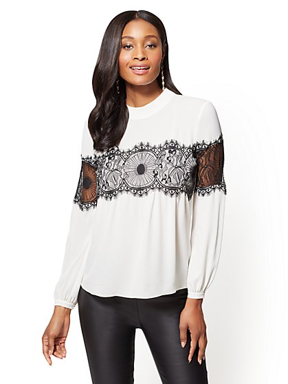 7th Avenue - Lace-Inset Mock-Neck Blouse - New York & Company
