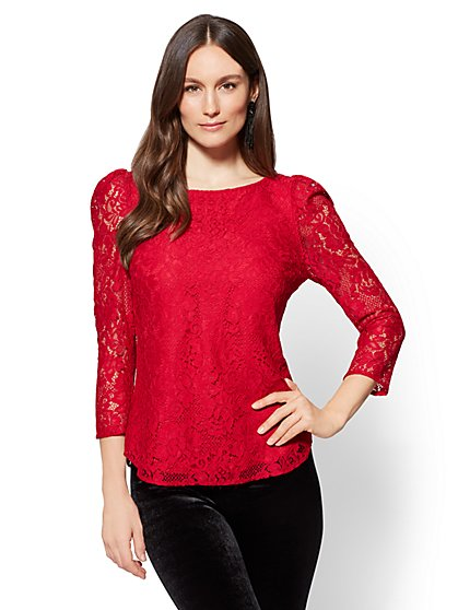 7th Avenue - Lace-Overlay Blouse - Red - New York & Company