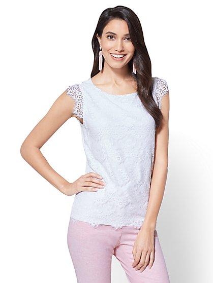 7th Avenue - Lace Overlay Top - New York & Company