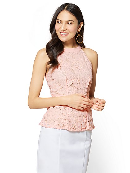 7th Avenue - Lace Peplum Halter Top - New York & Company
