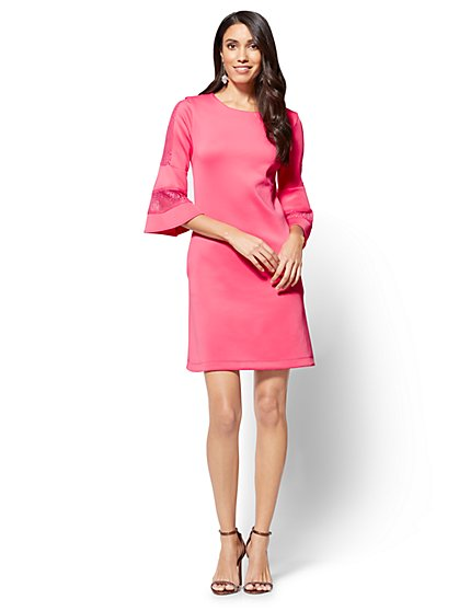 7th Avenue - Lace-Sleeve Shift Dress - New York & Company