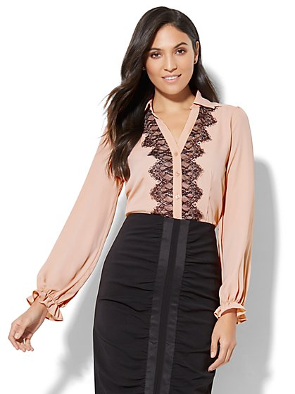 7th Avenue - Lace-Trim Blouse - New York & Company