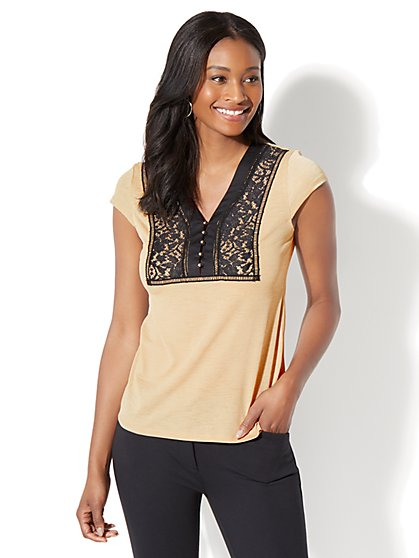 7th Avenue - Lace-Trim Knit Top - New York & Company