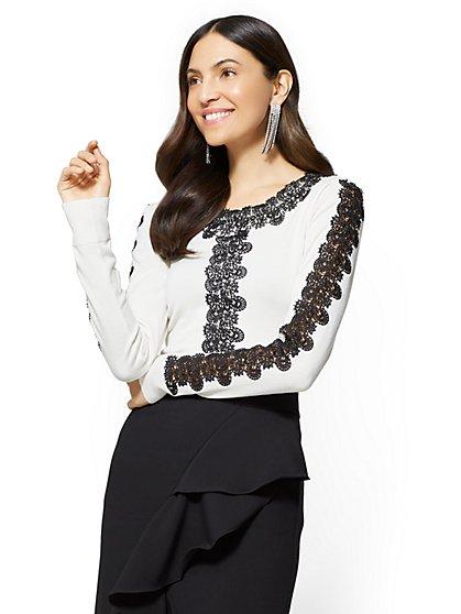 7th Avenue - Lace-Trim Scoopneck Sweater - New York & Company