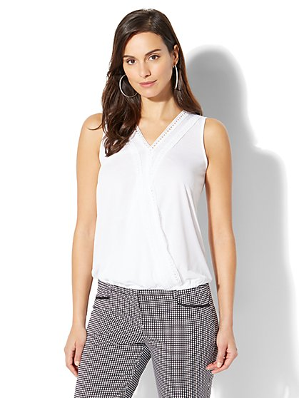 7th Avenue - Lace-Trim Wrap Top - New York & Company