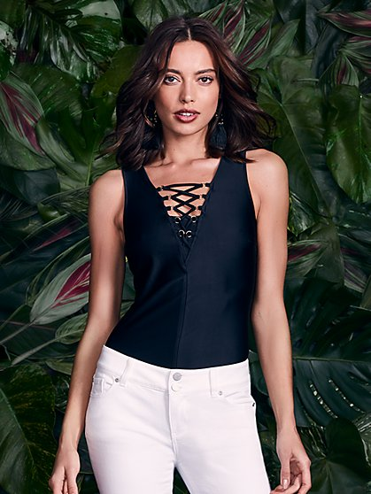 7th Avenue - Lace-Up Bodysuit - New York & Company