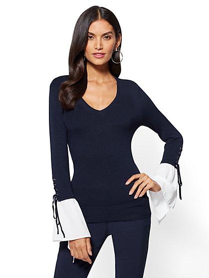 7th Avenue - Lace-Up Flounced-Sleeve Sweater - New York & Company