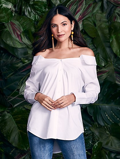 7th Avenue - Lace-Up Off-The-Shoulder Shirt - White - New York & Company