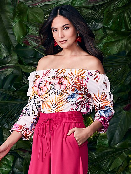 7th Avenue - Lace-Up Off-the-Shoulder Shirt - Floral - New York & Company