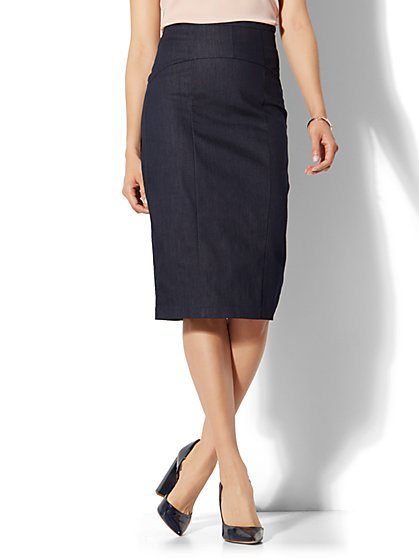 7th Avenue - Lace-Up Pencil Skirt - Hidden Blue - New York & Company