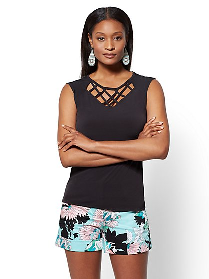 7th Avenue - Lattice-Detail Sleeveless Top - New York & Company
