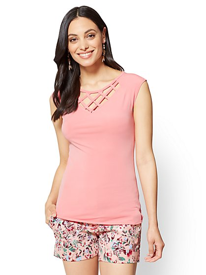 7th Avenue - Lattice-Trim Cap-Sleeve Top - New York & Company