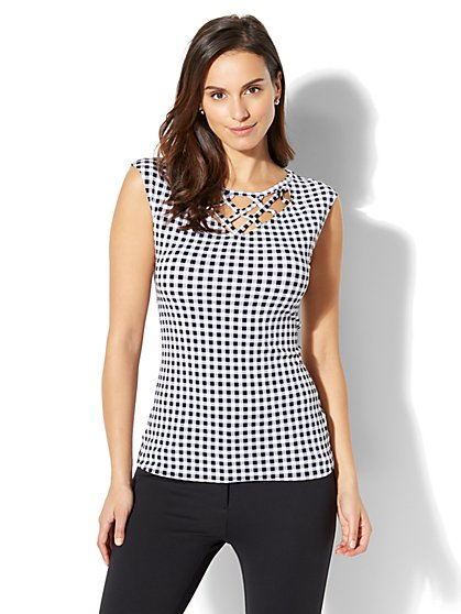 7th Avenue - Lattice-Trim Gingham Top - New York & Company