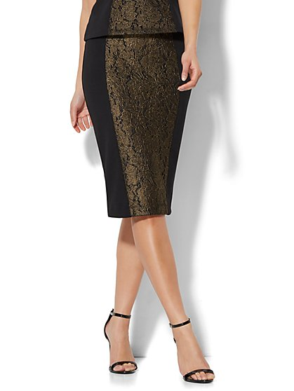 7th Avenue - Lurex Lace Pencil Skirt - Black - New York & Company