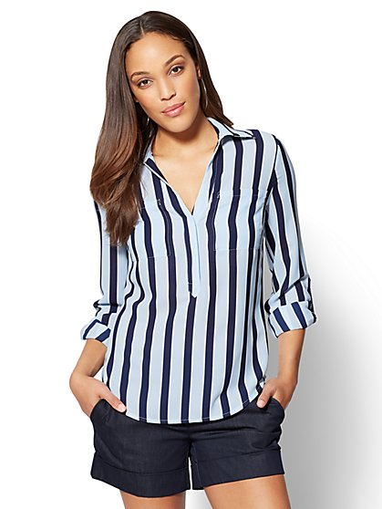 7th Avenue - Madison Soft Shirt - Blue Stripe - New York & Company