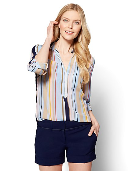 7th Avenue - Madison Soft Shirt - Stripe - New York & Company