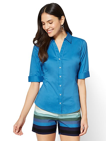 7th Avenue - Madison Stretch Shirt - Angled Seams - Petite - New York & Company