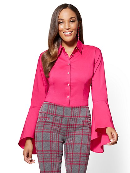 7th Avenue - Madison Stretch Shirt - Bell Sleeve - Fuchsia - Tall - New York & Company