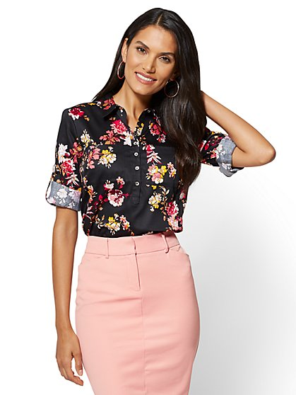 7th Avenue - Madison Stretch Shirt - Black Floral - New York & Company