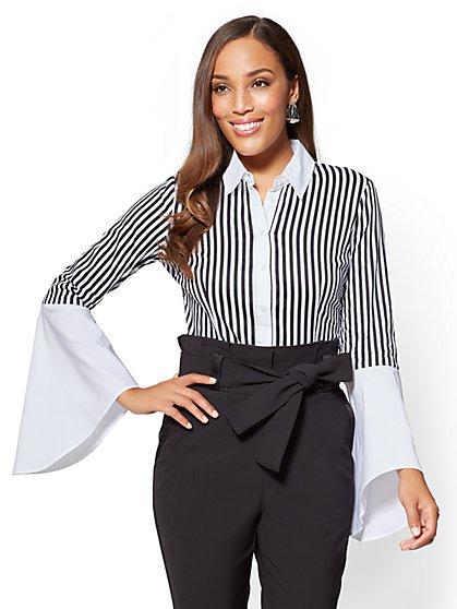 7th Avenue - Madison Stretch Shirt - Black & White Stripe - New York & Company