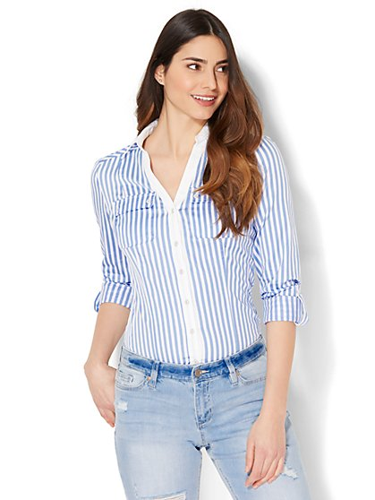 7th Avenue - Madison Stretch Shirt - Blue & White Stripe - New York & Company