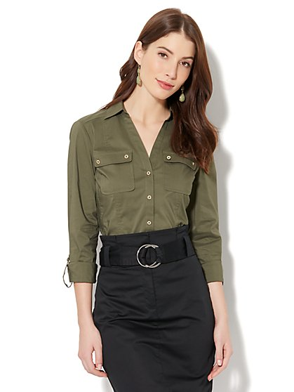 7th Avenue - Madison Stretch Shirt - Button-Front - New York & Company
