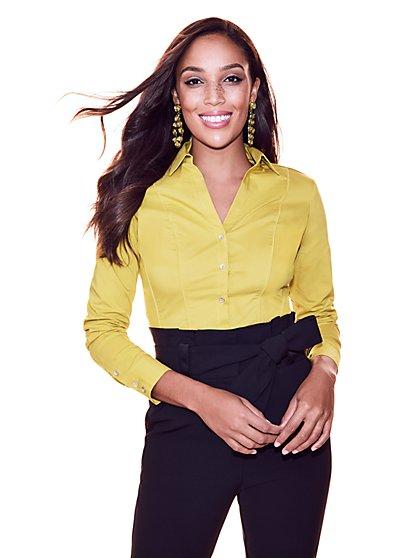 7th Avenue - Madison Stretch Shirt - Chartreuse - New York & Company