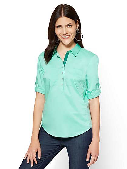 7th Avenue - Madison Stretch Shirt - Contrast Trim - Green - New York & Company
