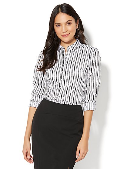 7th Avenue - Madison Stretch Shirt - Dot Print - Petite - New York & Company