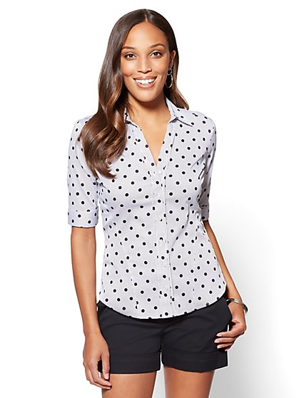 7th Avenue - Madison Stretch Shirt - Double Dot Print - Petite - New York & Company