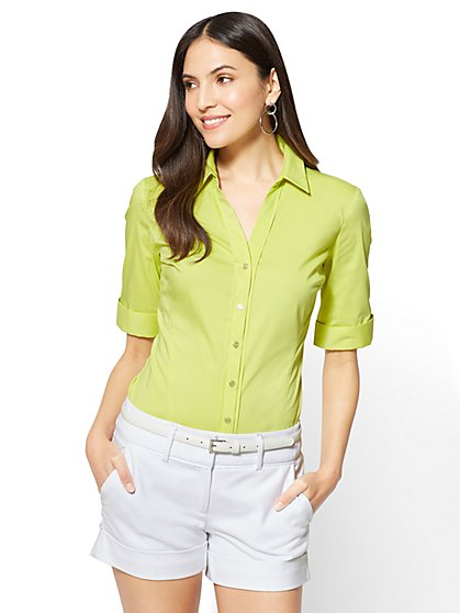 7th Avenue - Madison Stretch Shirt - Elbow-Length Sleeve - New York & Company