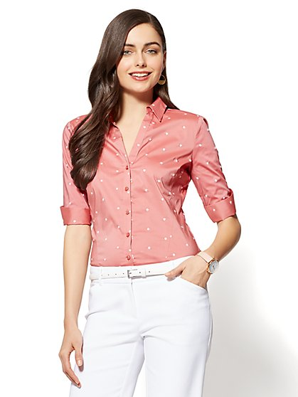 7th Avenue - Madison Stretch Shirt - Embroidered Dot - New York & Company