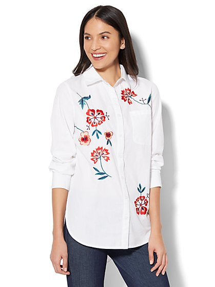 7th Avenue - Madison Stretch Shirt - Embroidered Floral - White - New York & Company