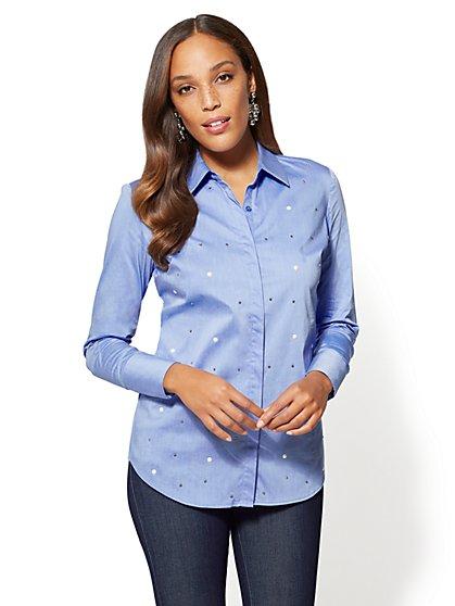 7th Avenue - Madison Stretch Shirt - Faux Pearls & Rhinestones - New York & Company