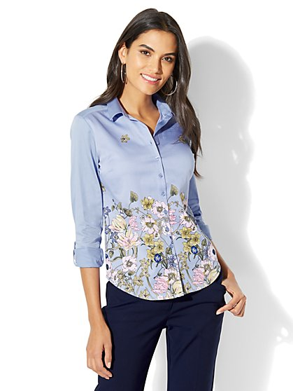 7th Avenue - Madison Stretch Shirt - Floral - Tall - New York & Company