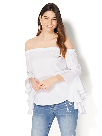 7th Avenue - Madison Stretch Shirt - Flounced-Sleeve Off-The-Shoulder - New York & Company