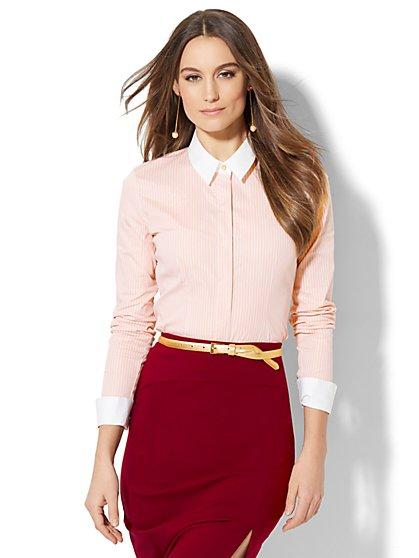 7th Avenue - Madison Stretch Shirt - French Cuff - Lurex Stripe - New York & Company