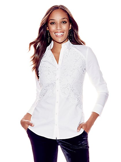 7th Avenue - Madison Stretch Shirt - Lace Overlay - Tall - New York & Company