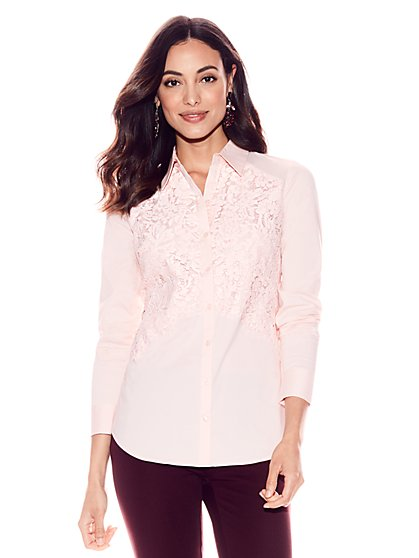 7th Avenue - Madison Stretch Shirt - Lace Overlay - New York & Company